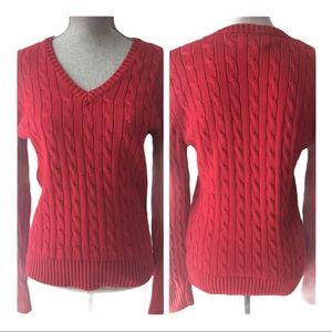 Tommy Hilfiger Red Cable Knit Sweater Size L